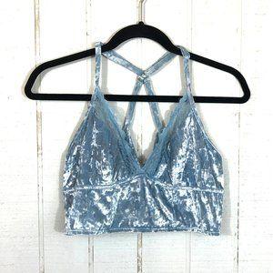 AERIE Baby Blue Crushed Velvet & Lace Bralette L